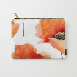 Modern hand painted orange watercolor poppies pattern Carry-All Pouch