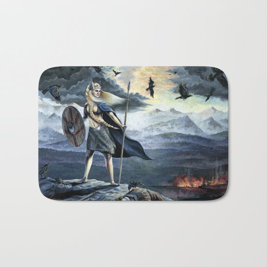 Valkyrie and Crows Bath Mat