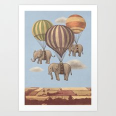 Flight of the Elephants - colour option Art Print