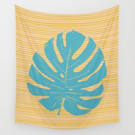 Monstera in Turquoise and Gold Wall Tapestry