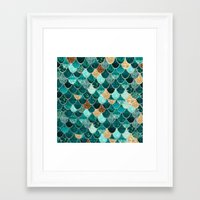 gold Framed Art Prints featuring REALLY MERMAID by Monika Strigel