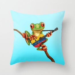 Tree Frog Playing Acoustic Guitar with Flag of Colombia Throw Pillow