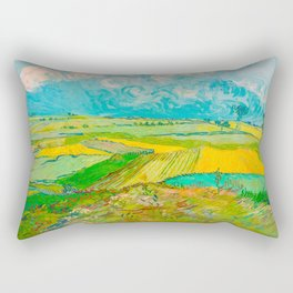 Wheat Fields after the Rain (The Plain of Auvers), July 1890 Oil Painting by Vincent van Gogh Rectangular Pillow