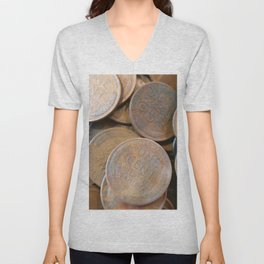 Watercolor Coins, Lincoln Wheat Pennies, One Cent 01 Unisex V-Neck