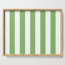 Dollar bill green -  solid color - white vertical lines pattern Serving Tray