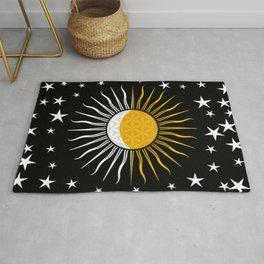 Sun Moon & Stars Flower Of Life Space Spiritual Zen Bohemian Hippie Yoga Mantra Meditation Rug