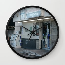 #OPEN 24 HOURS - MIAMI, USA by Jay Hops Wall Clock