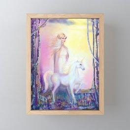Princess and Unicorn Framed Mini Art Print