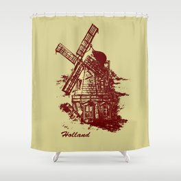 Old Holland windmill Shower Curtain