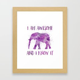Awesome Watercolor Elephant Framed Art Print