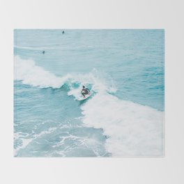 Wave Surfer Turquoise Throw Blanket
