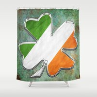 irish Shower Curtains featuring Irish Clover by BAC-of-all-Trades