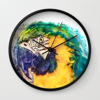 parrot Wall Clocks featuring Parrot by jbjart