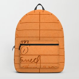 Library Card 797 Orange Backpack
