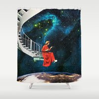 eugenia loli Shower Curtains featuring Nail-Biting Edge by Eugenia Loli