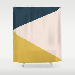 Jag. Minimalist Geometric Color Block in Navy Blue, Mustard Yellow, and Pale Blush Pink Shower Curtain