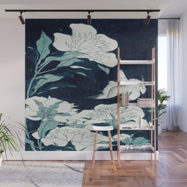 JAPANESE FLOWERS Midnight Blue Teal Wall Mural