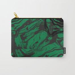 Suminagashi marble malachite green marbled pattern spilled ink abstract art Carry-All Pouch
