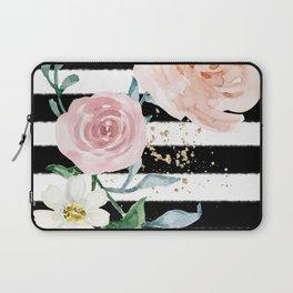 Rose Arrangement on Black Stripes No. 1 Laptop Sleeve