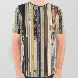 Classic Rock Vinyl Records All Over Graphic Tee