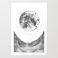 Moon and Waves Art Print