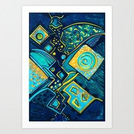 GALAXY SPARKLES BLUE Art Print