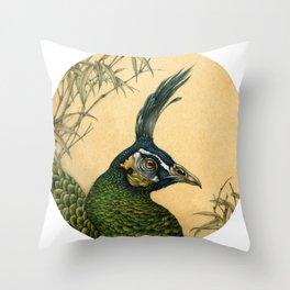 Green Peafowl Head Throw Pillow