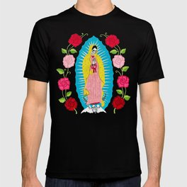 Skull Virgin of Guadalupe_ Hand embroidered T-shirt