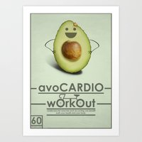 workout Art Prints featuring avoCARDIO workout by JosephMills