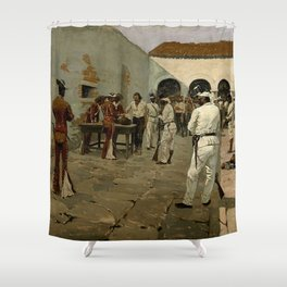 "Western Art ""Drawing of the Black Bean"" by Frederic Remington Shower Curtain"