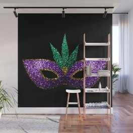Mardi Gras Mask Purple Green Gold Sparkles Wall Mural