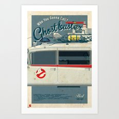 Ghostbusters Ecto-1 Triptych part II of III Art Print