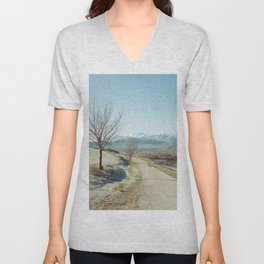 Mountains in the background Unisex V-Neck
