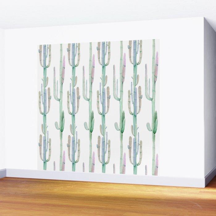 Arizona Wilderness Cactus Pattern Wall Mural