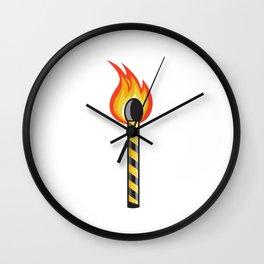 Light Striped Match Stick On Fire Retro Wall Clock