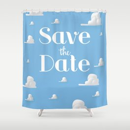 Save the Date vintage clouds Shower Curtain