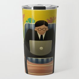 Office manager in suit and glasses works in nature Travel Mug