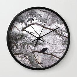 Winter crow. Wall Clock