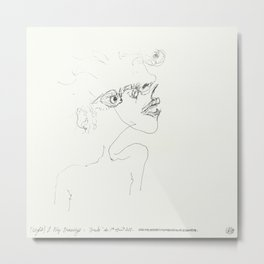 (Night) & Nap Drawings 33 - She had no eyes opposite holes - made eyes closed  Metal Print