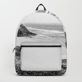 Beach Horizon | Black and White Color Sky Ocean Water Waves Coastal Landscape Photograph Backpack