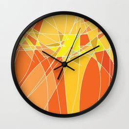 Abstract geometric orange pattern, vector illustration Wall Clock
