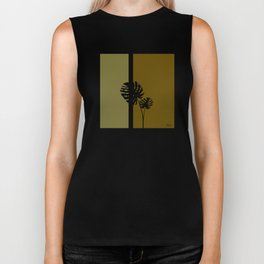 """Minimal retro tiki monstera"" Biker Tank"