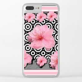 "Grey ""Art Deco"" Cherry Blossom Pattern Art Clear iPhone Case"