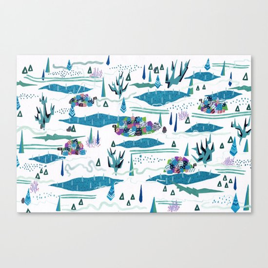 tundra-confined exiles in a rollicking game of hide and seek Canvas Print