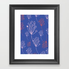 floral blue chalk contemporary Framed Art Print