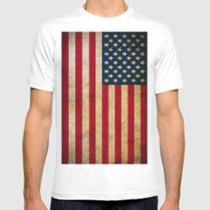 Vintage American Flag White MEDIUM Mens Fitted Tee