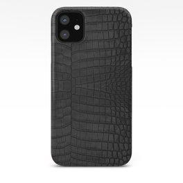 Black Crocodile Leather Print iPhone Case