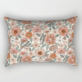 70s flowers - 70s, retro, spring, floral, florals, floral pattern, retro flowers, boho, hippie, earthy, muted Rectangular Pillow
