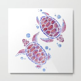 Beautiful Decorative Abstract Turtles Metal Print
