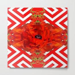 ORANGE-RED POPPY PATTERNS ART Metal Print